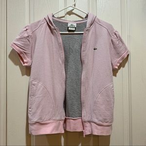 Lacoste Hoodie Pink Grey SS Small EUC Top Jacket